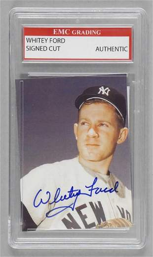 Whitey Ford New York Yankees Signed Cut Card