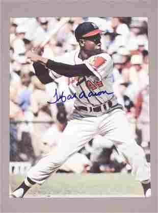 Hank Aaron Autographed Baseball Photograph