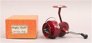 Vintage Red Aqua Spin Spinning Reel