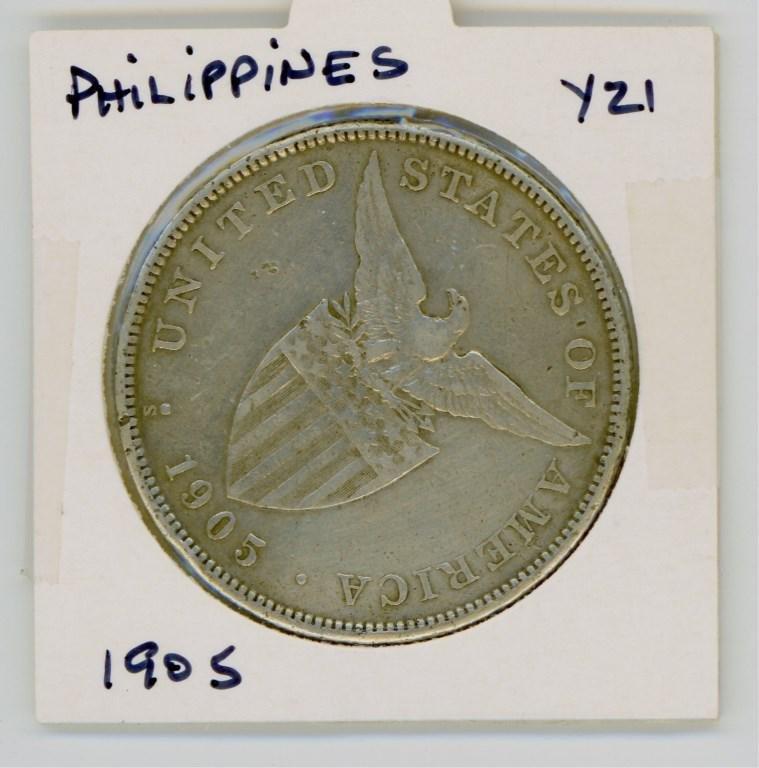 1905 U.S. 1 Peso Philippines Silver Coin