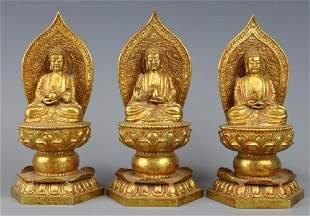Three Gilt Bronze Buddhas