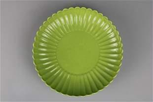 Yongzheng MarkA Green Glazed Plate