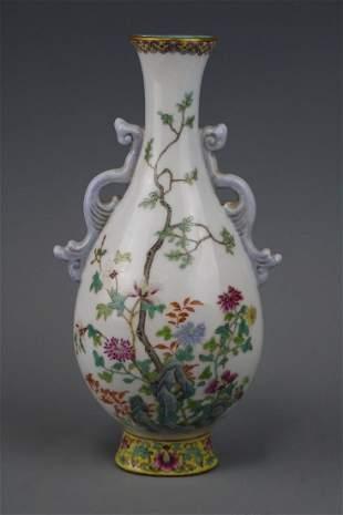 Qianlong Mark A Famille Rose Wall Vase