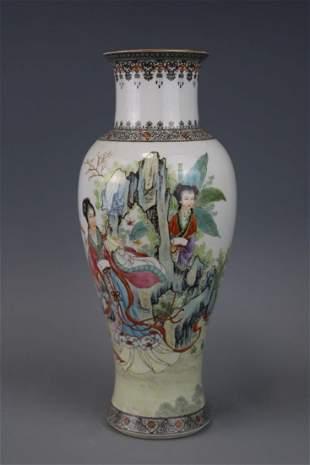 Jingdezhen Mark A Famille Rose Vase With Human Figure