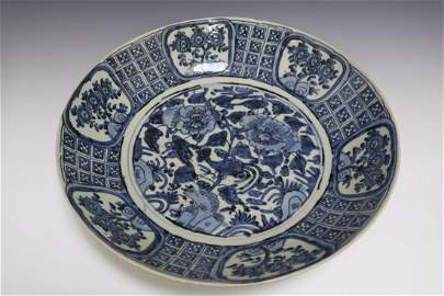 A Blue And White Dish With Flower Pattern