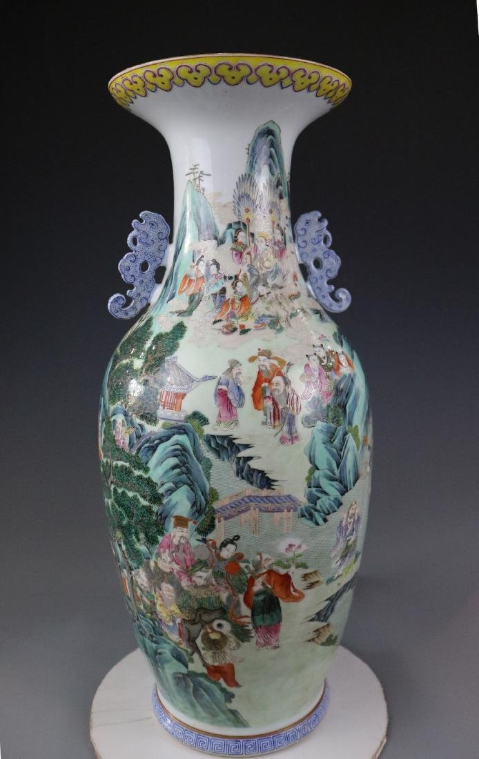A Famille Rose Vase With Human Pattern