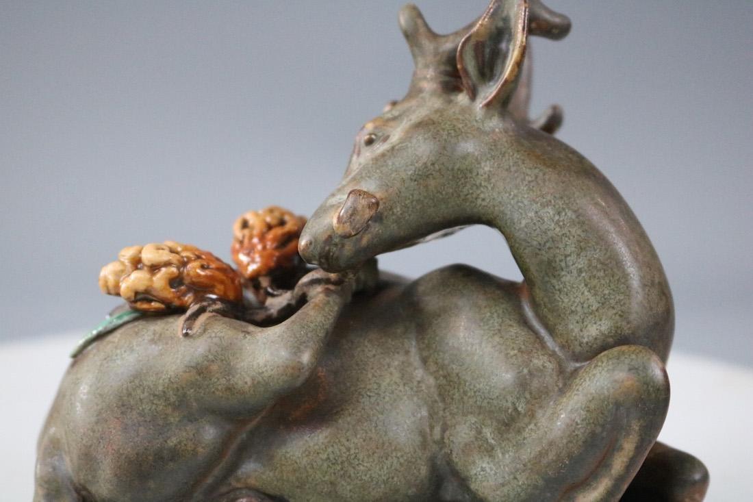 Qianlong Mark, A Tea Glazed Deer Sculpture - 2