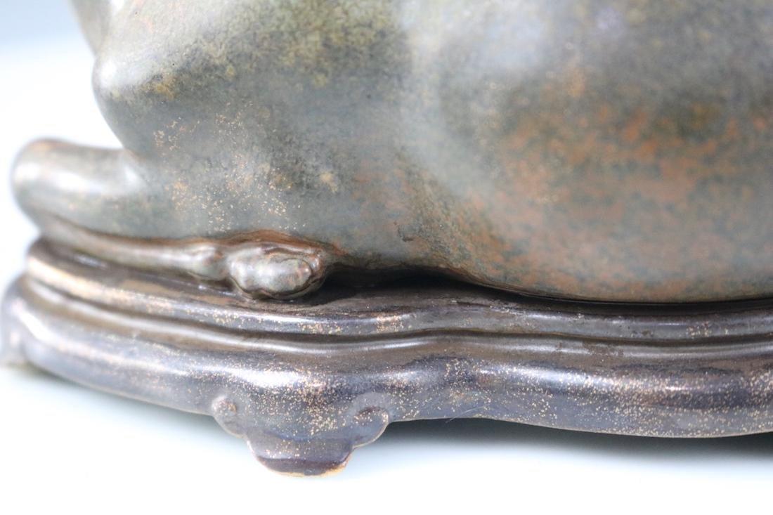 Qianlong Mark, A Tea Glazed Deer Sculpture - 6
