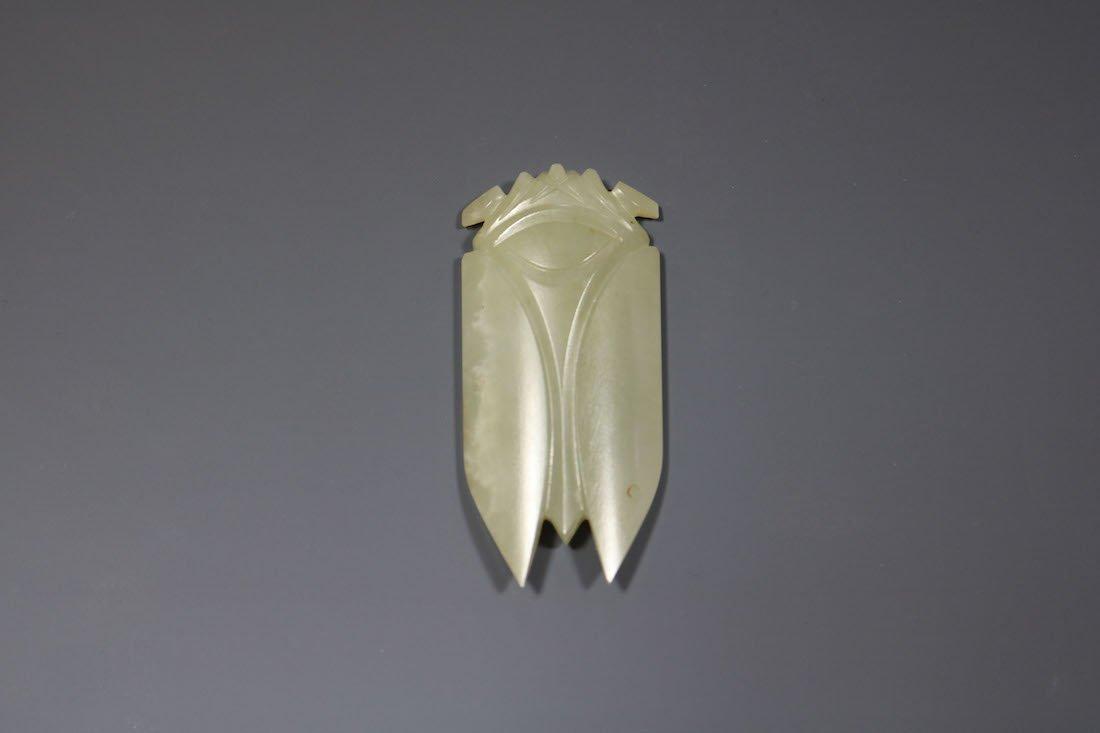 A Hetian Celadon Jade Cicada -Form Pendant