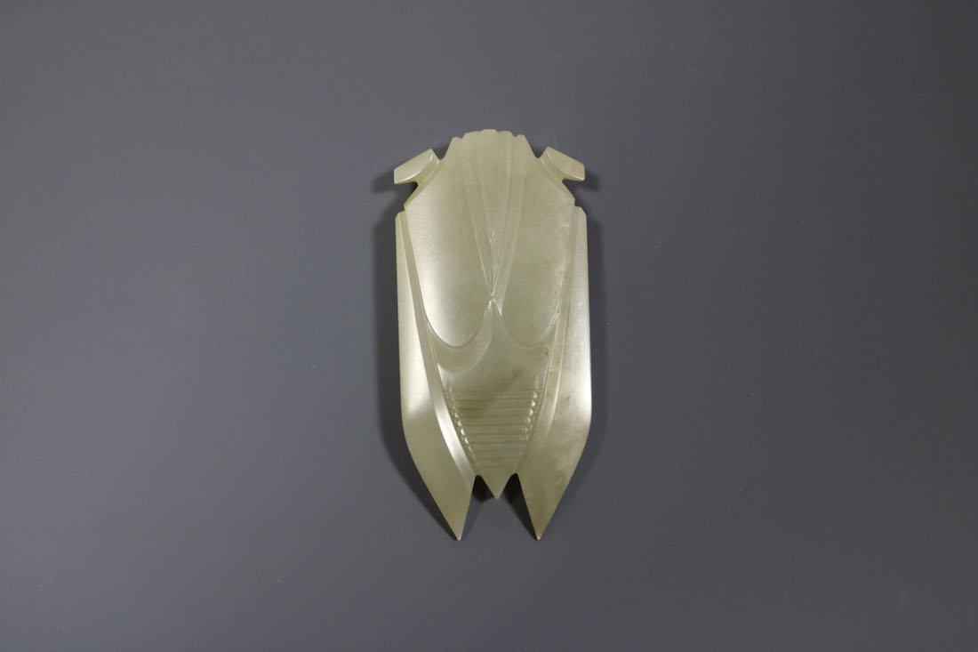 A Hetian Celadon Jade Cicada -Form Pendant - 2
