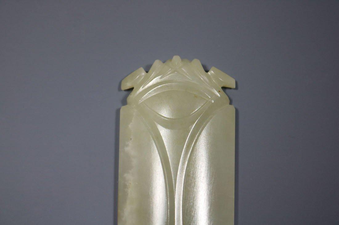 A Hetian Celadon Jade Cicada -Form Pendant - 4