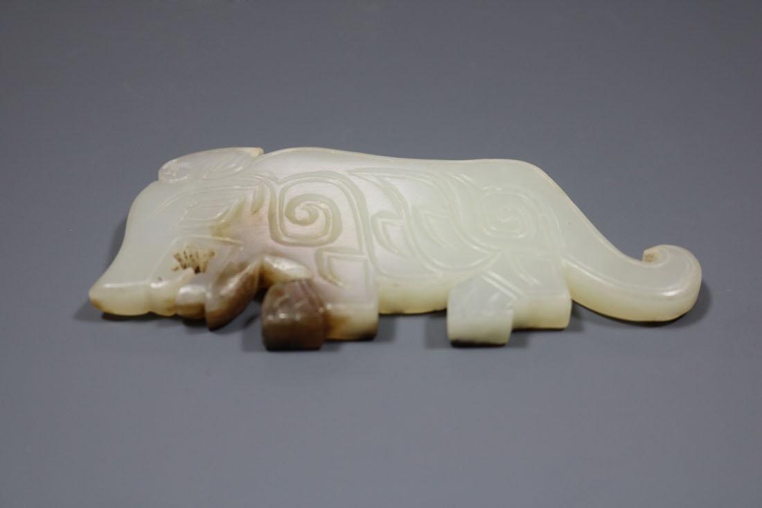 A  Hetian Celadon Jade Tiger-Form Pendant