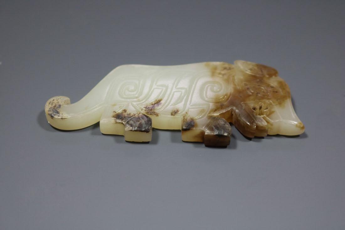 A  Hetian Celadon Jade Tiger-Form Pendant - 2