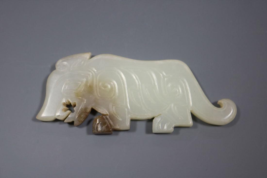 A  Hetian Celadon Jade Tiger-Form Pendant - 3