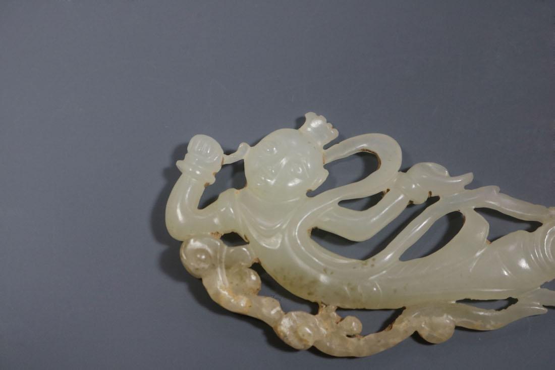A Hetian White Jade 'Flying Apsaras' Pendant - 5