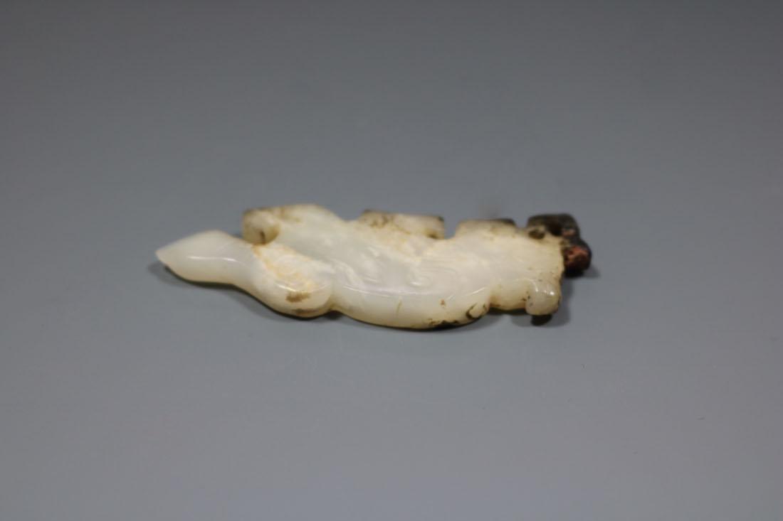 A Hetian White Jade Bird-Form Pendant - 4