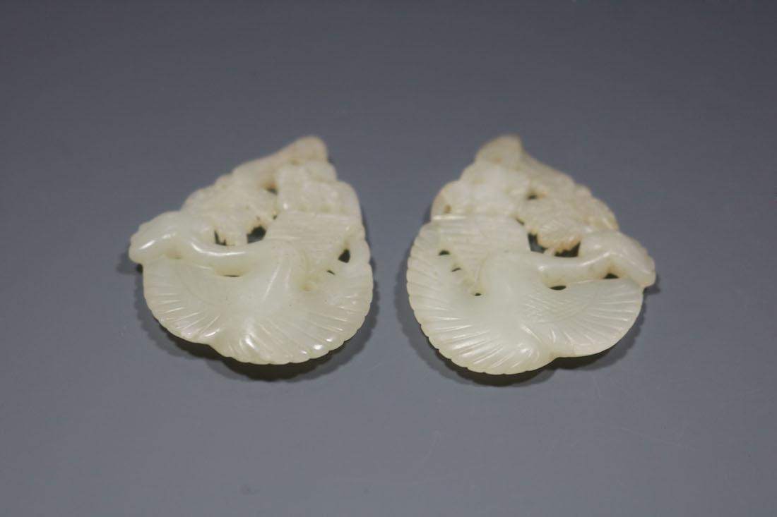 A Pair Of Hetian Celadon Jade Phoenix-Form Pendant