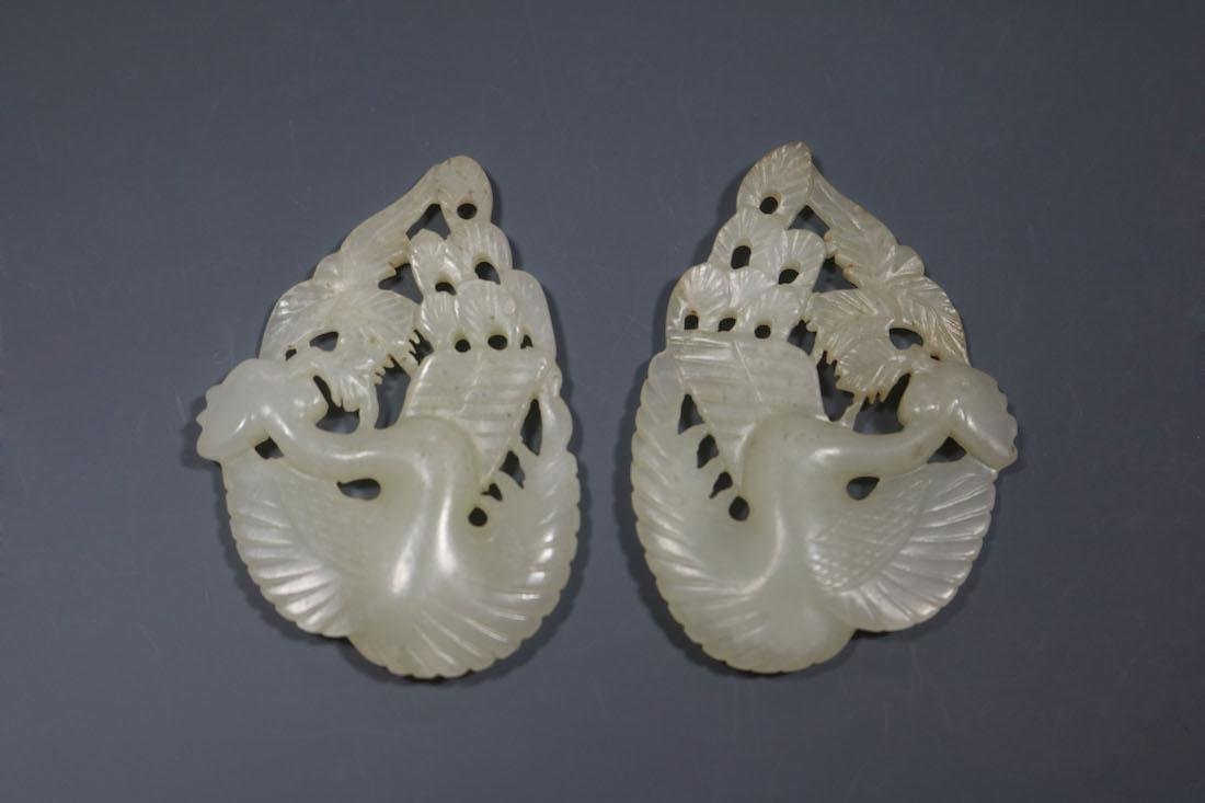 A Pair Of Hetian Celadon Jade Phoenix-Form Pendant - 2