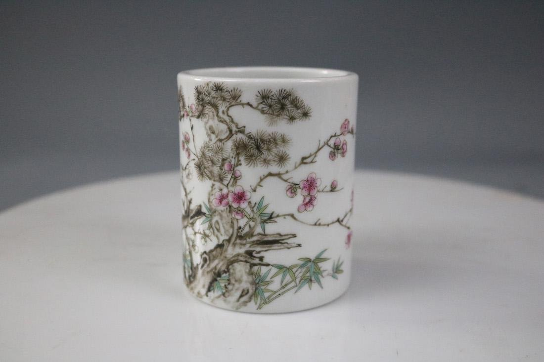 A Famille Rose Brush Pot With Flower Pattern