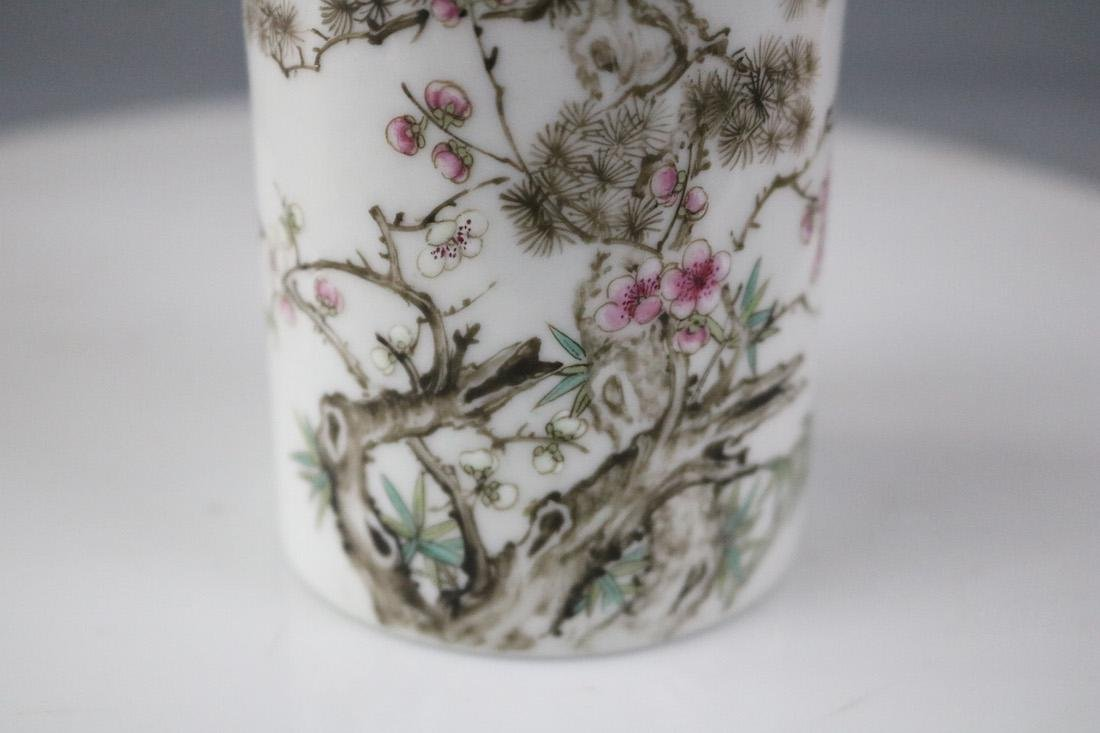 A Famille Rose Brush Pot With Flower Pattern - 4