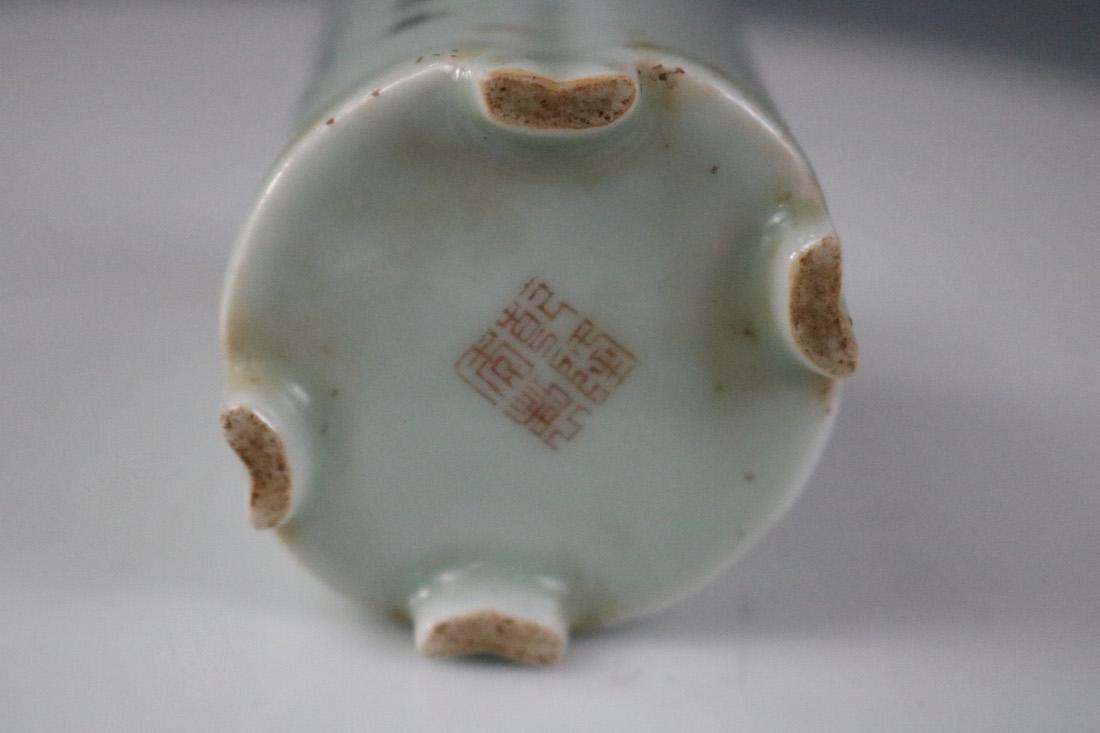 Kangxi Mark,A Bean-Green Glazed Brush Pot - 5