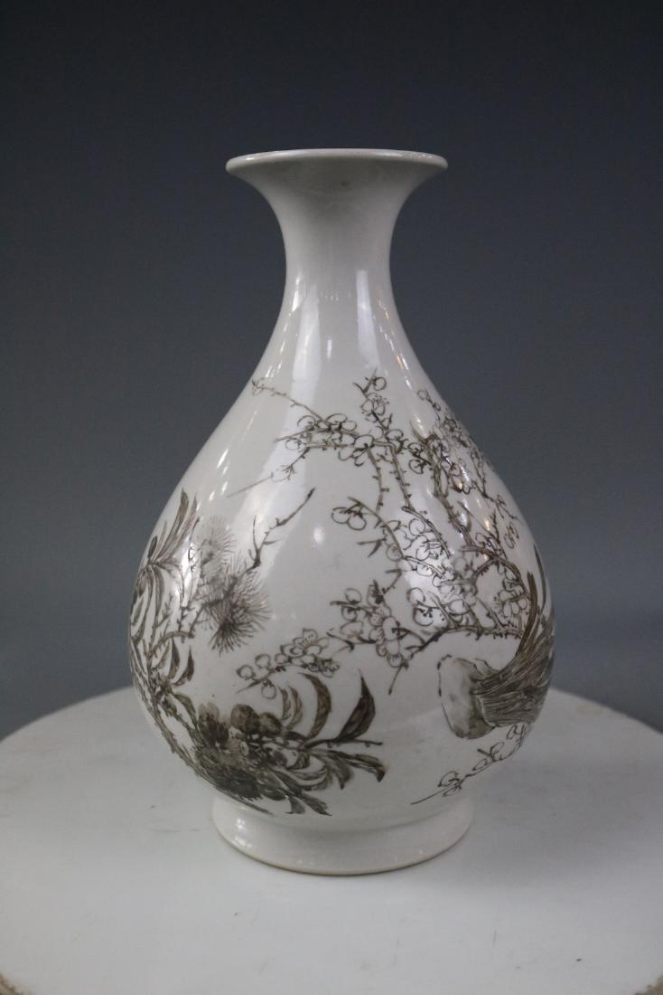 Guangxu Mark,A Yuhuchun Vase In Ink Style