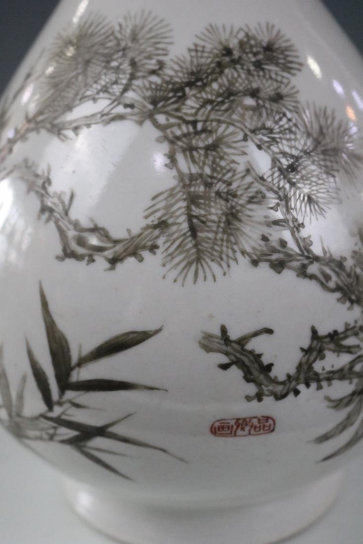 Guangxu Mark,A Yuhuchun Vase In Ink Style - 3
