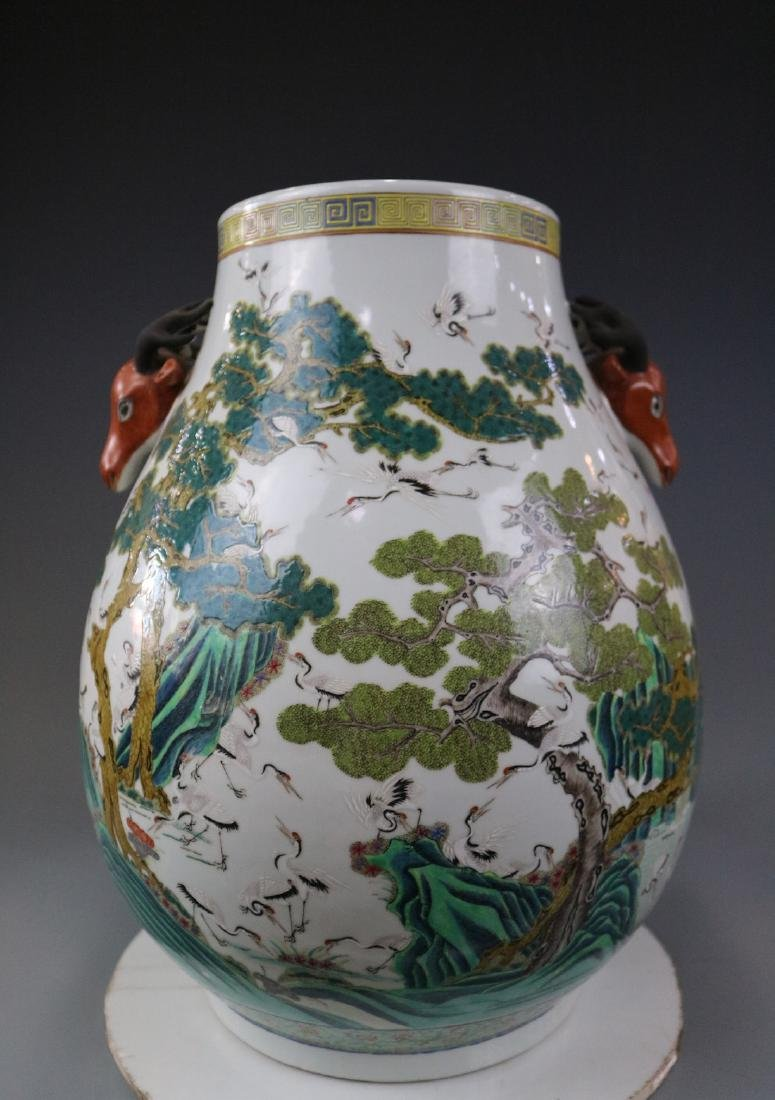 Guangxu Mark,A Famille Rose Jar With Crane Pattern