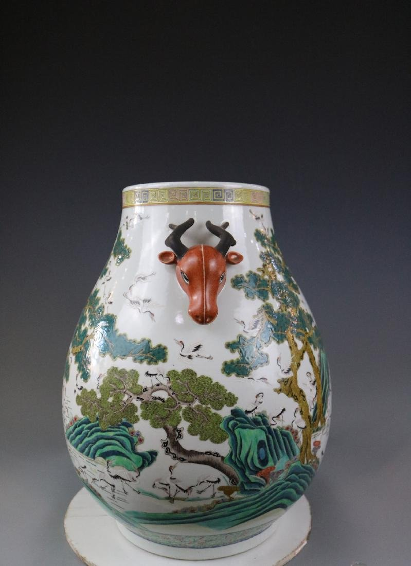 Guangxu Mark,A Famille Rose Jar With Crane Pattern - 2