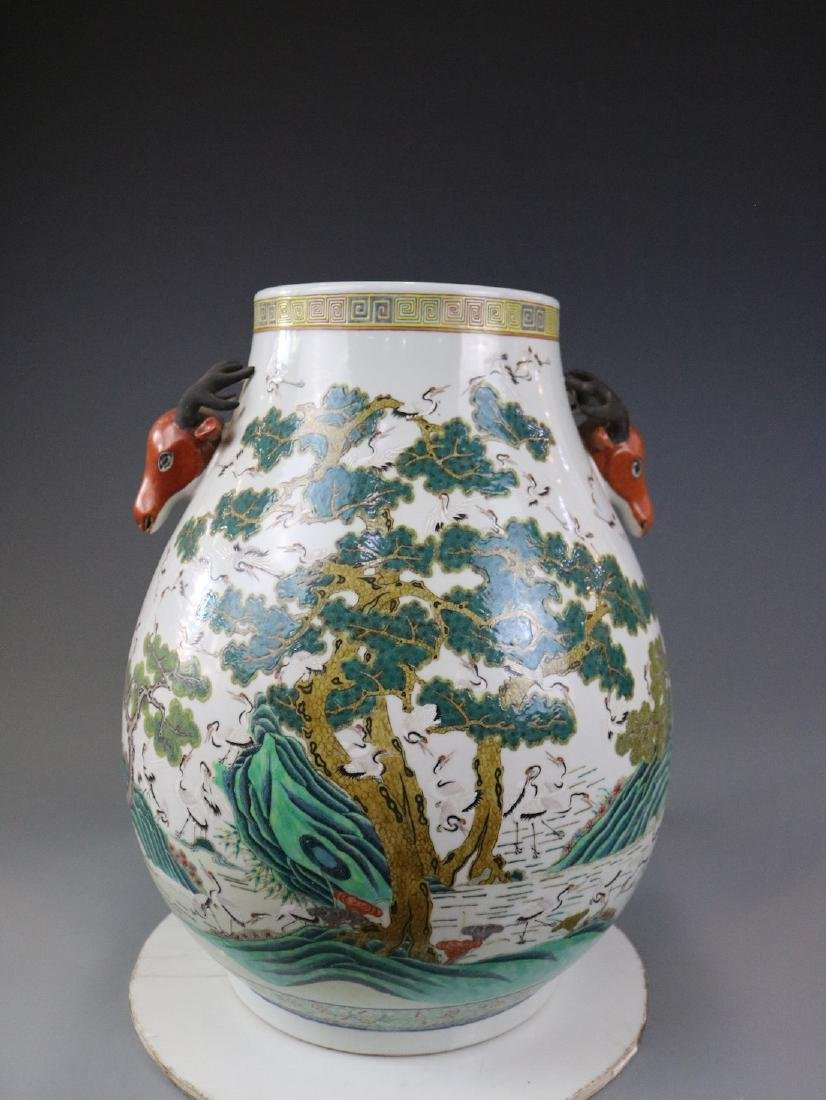 Guangxu Mark,A Famille Rose Jar With Crane Pattern - 3