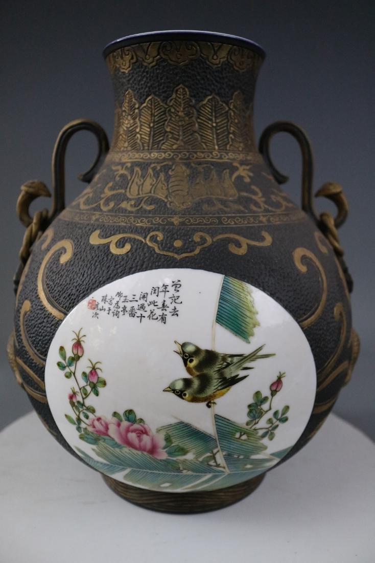 A Bronze Glazed Jar With Flower Pattern - 3