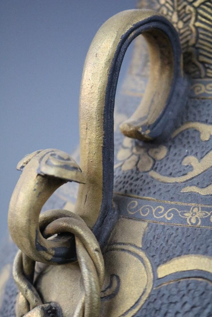 A Bronze Glazed Jar With Flower Pattern - 6