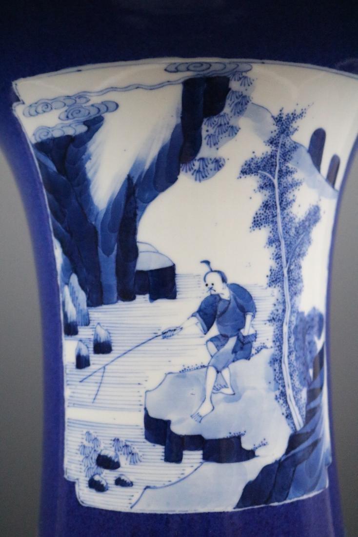 Kangxi Mark,A Blue Glazed Vase - 6