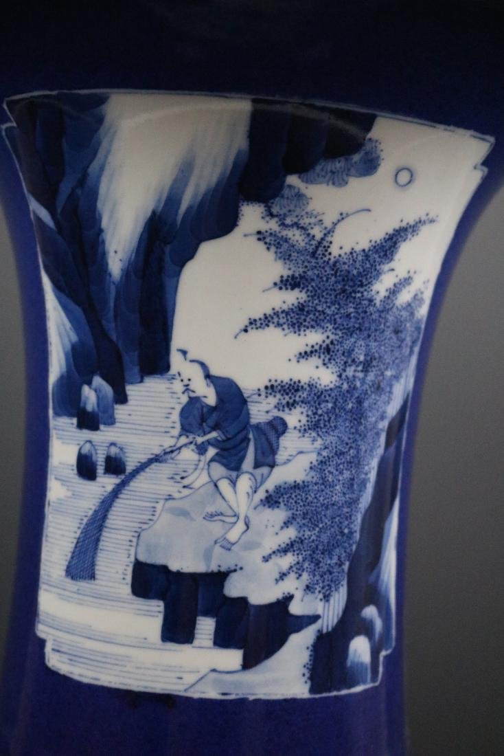 Kangxi Mark,A Blue Glazed Vase - 8