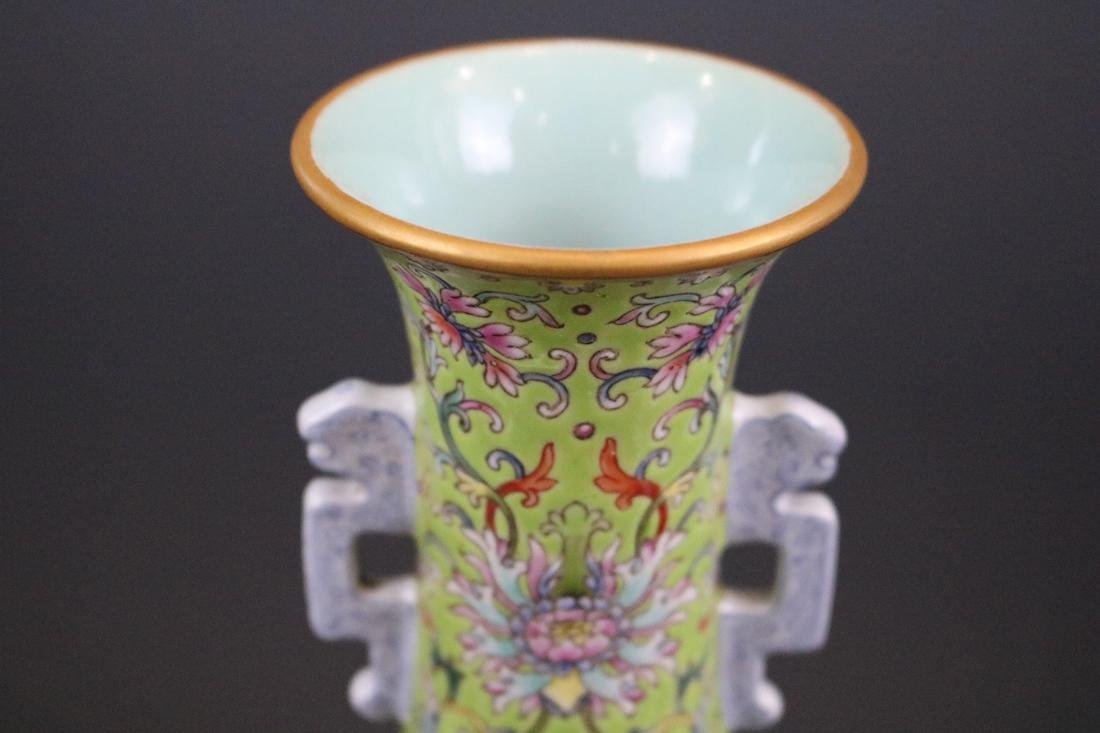 Qianlong Mark,A Famille Rose Vase With Two Handles - 5
