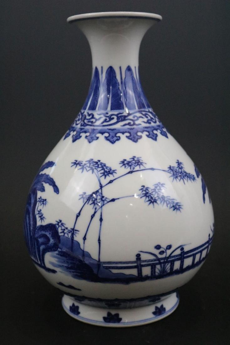 Qianlong Mark,A Blue And White Yuhuchun Vase - 2