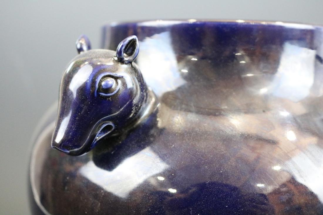 A Purple Glazed Jar With Two Deer Handles - 4