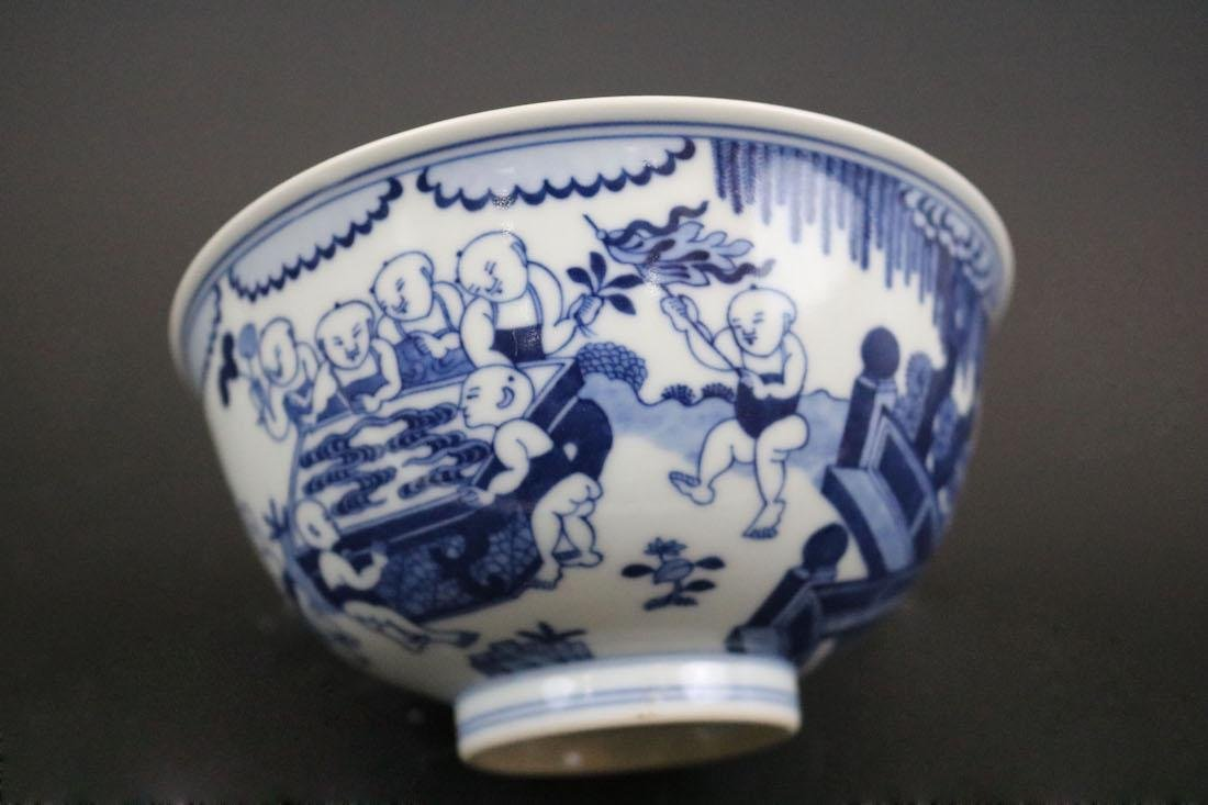 Qianlong Mark,A Blue And White Bowl With Children - 4