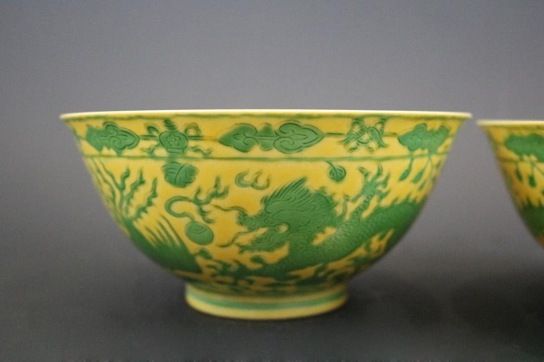 Qianlong Mark,A Pair Of Yellow Ground Bowls With Dragon - 2