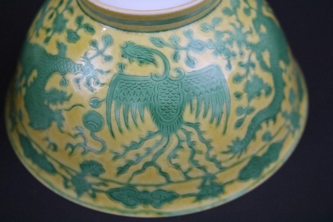 Qianlong Mark,A Pair Of Yellow Ground Bowls With Dragon - 6