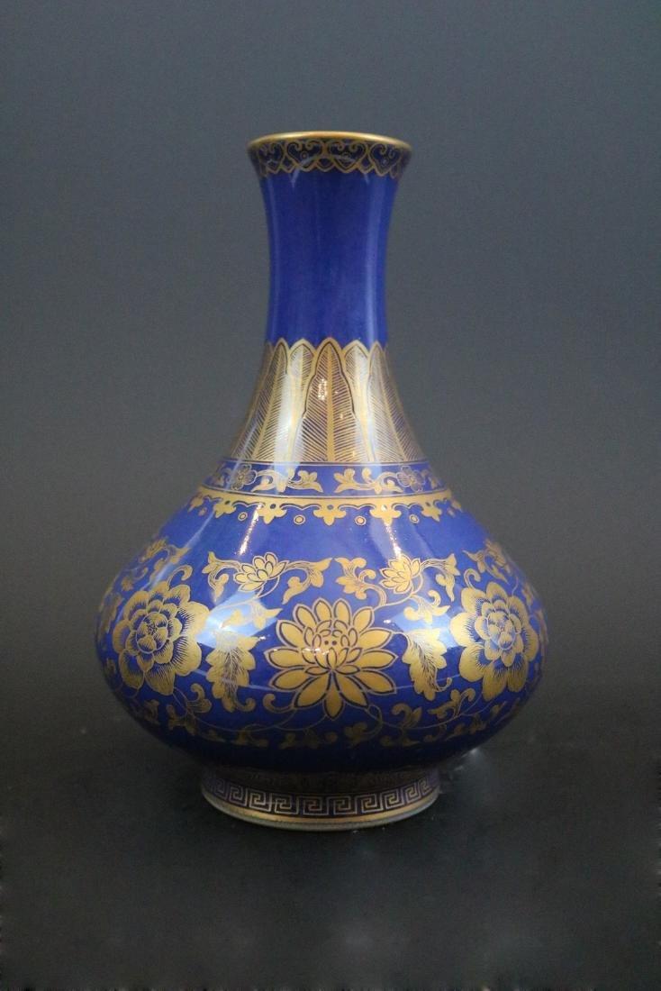 Qianlong Mark,A Gilt Blue Glazed Vase