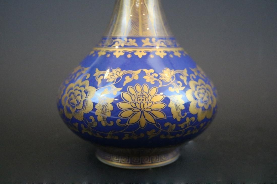 Qianlong Mark,A Gilt Blue Glazed Vase - 2