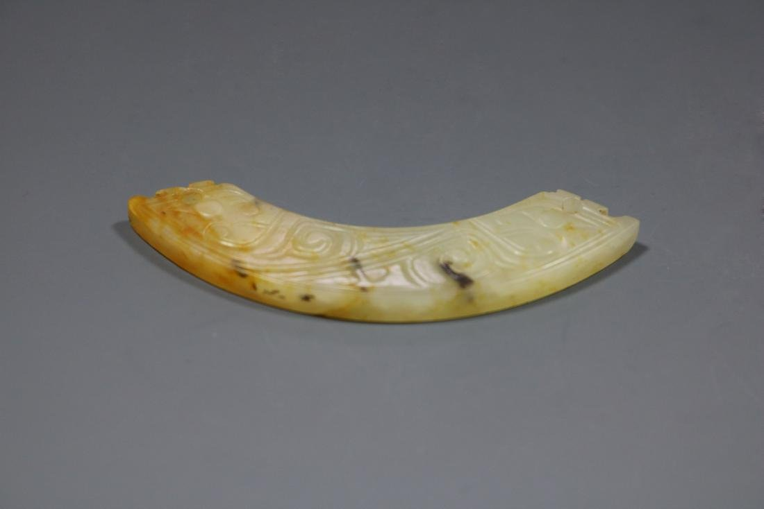 A Hetian Celandon Jade Dragon-Form