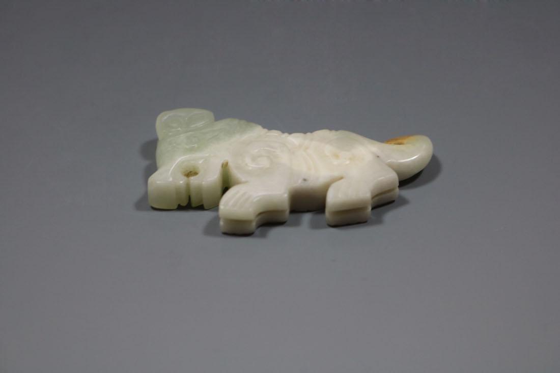 A  Hetian Celandon Jade Tiger-Form Pendant, Western - 3