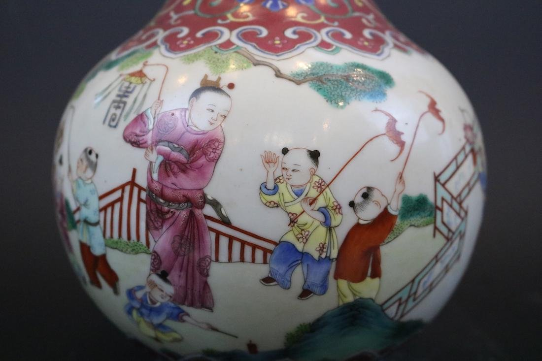 Jiangqing Mark,A Famille Rose Vase With Two Handles - 3