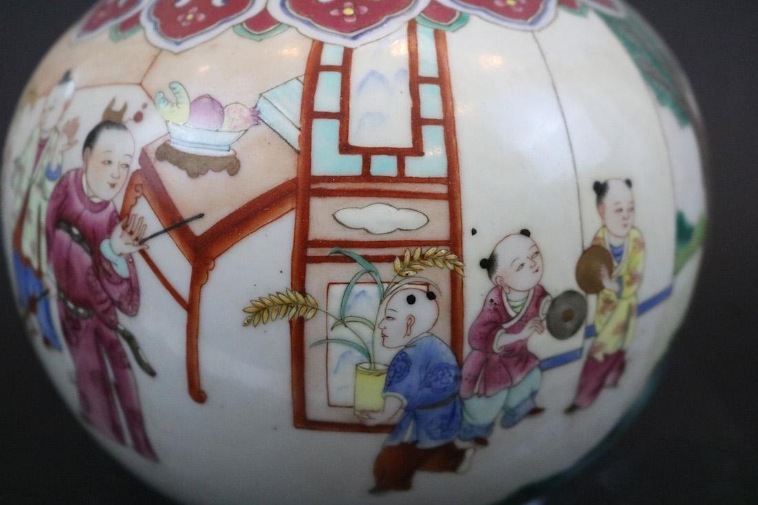 Jiangqing Mark,A Famille Rose Vase With Two Handles - 5