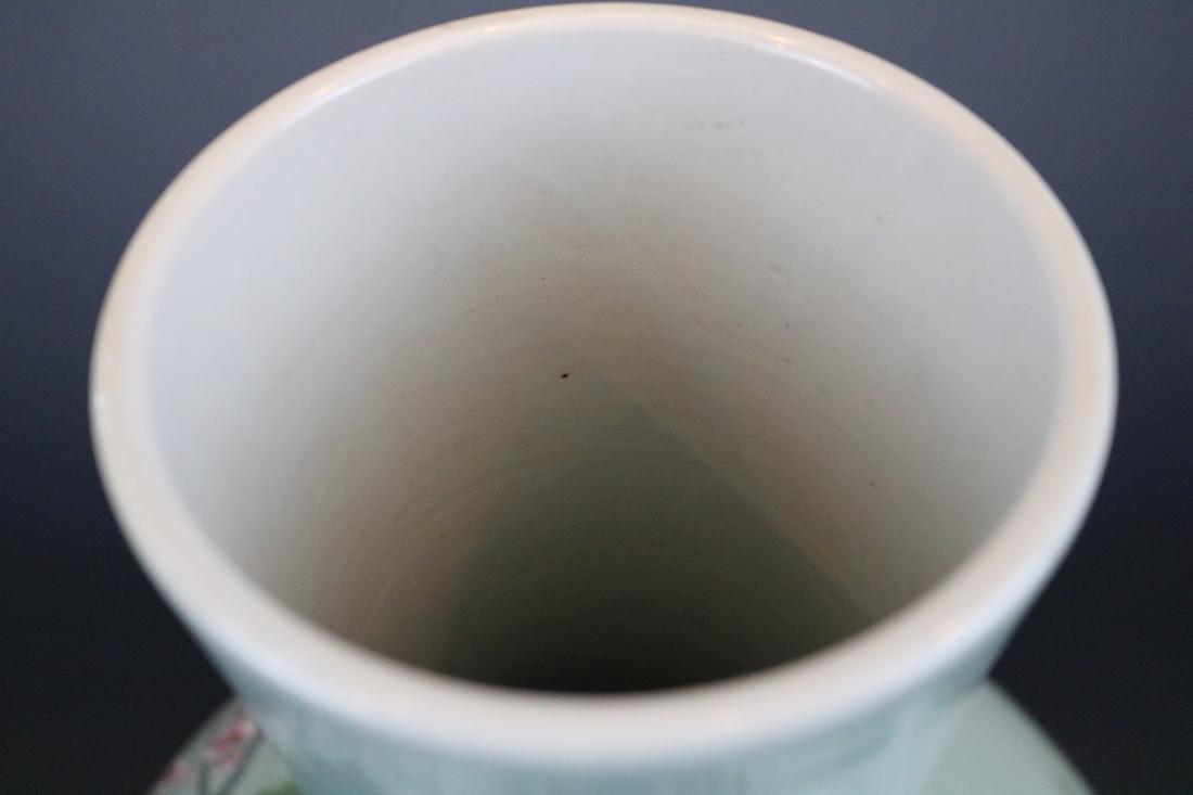 Qianlong Mark,A Bean-Green Ground Vase - 6