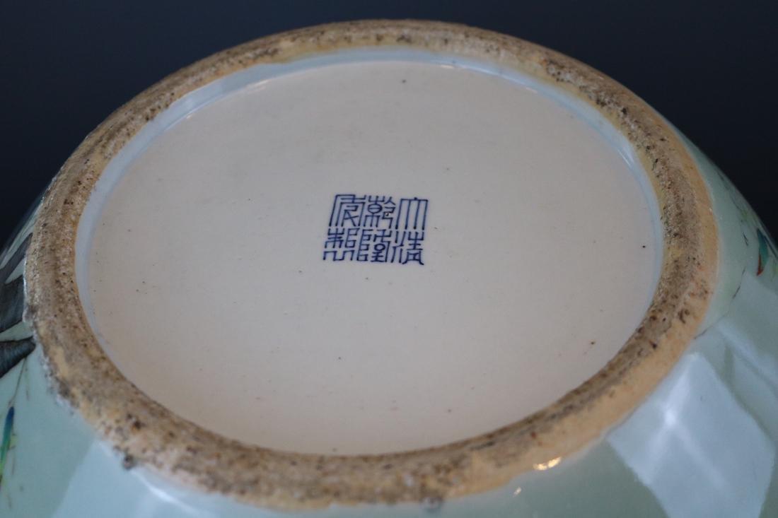 Qianlong Mark,A Bean-Green Ground Vase - 7