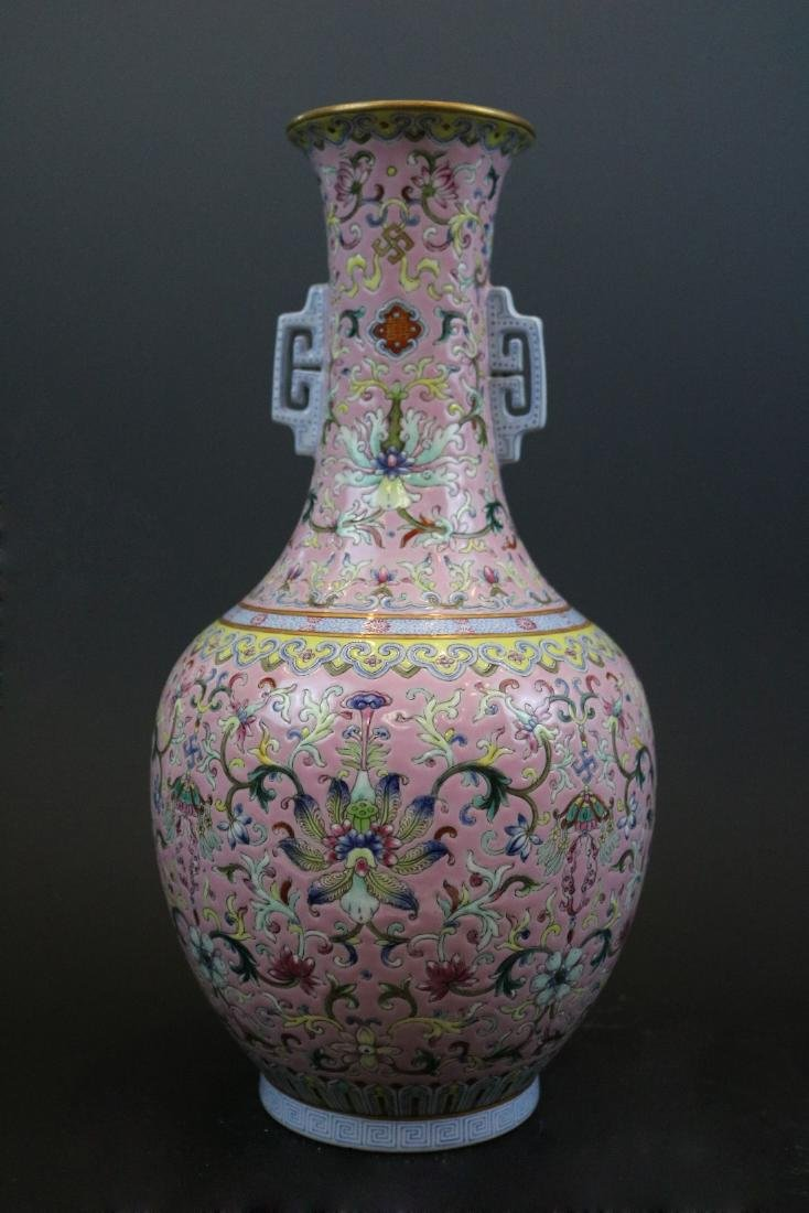 Jiaqing Mark,A Gilt Famille Rose Vase With Two Handles