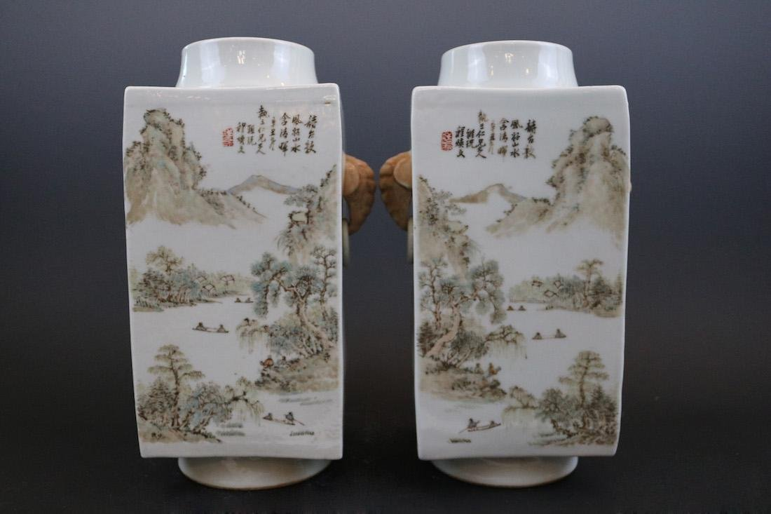 Chenghuanwen Mark,A Pair Of Light Crimson Color Vases